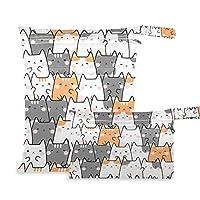 オムツポーチ かわいい 猫颜 柄 防水バッグ 2点セット おむつバッグ 着替え・タオル・水着・お風呂用品入れ かわいい おむつポーチ 掛けバッグ ドライバッグ おむつ収納バッグ オーガナイザーバッグ 超軽量 多機能 再利用可能
