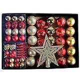 YILEEY Adornos de Navidad Decoracion Arboles de Navidad Bolas de Plastico, Dorado y Rojo, 68 Piezas en 14 Tipos, Caja de Bolas de Navidad de Plástico Inastillable con Percha, Adornos Decorativos