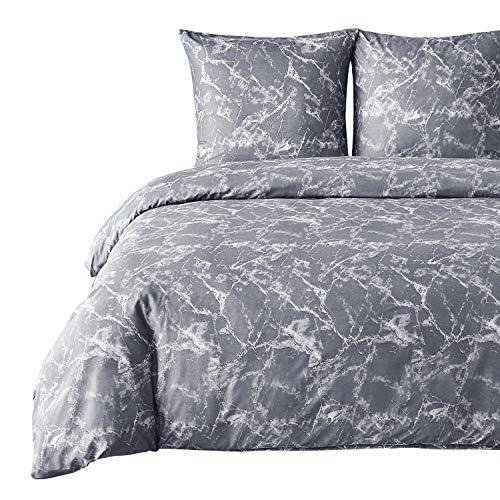 Bedsure Bettwäsche 200X200 Mikrofaser 3 teilig - grau Bettbezug Set mit Marmor Muster, weiche Flauschige Bettbezüge mit Reißverschluss und 2 mal 80x80cm Kissenbezug