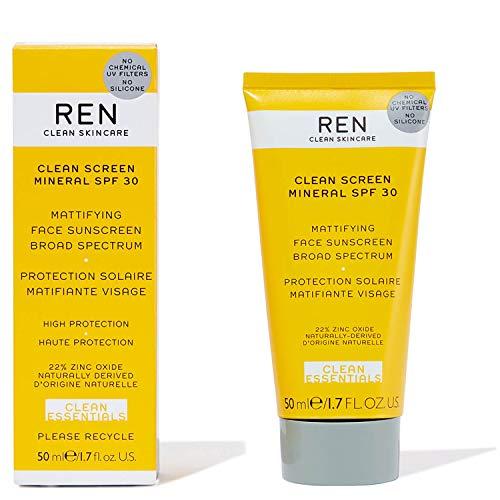 REN Clean Screen Mineral - Protector solar SPF30 para rostro, de amplio espectro (50 ml)