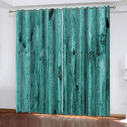 Evvsovs 3D Digital Impresión Cortinas Opacas Puerta De Madera Vintage Azul Poliéster Termicas Aislantes En Forma Salón Dormitorio Cuarto De Los Niños 160 (Ancho) X130 (Alto) Cm 2 Piezas Paneles
