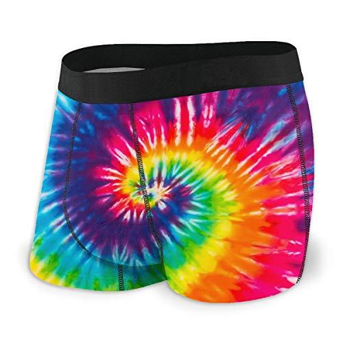 AHOOCUSTOM Rainbow Tie Dye Mens Underwear Boxer Briefs No Fly M