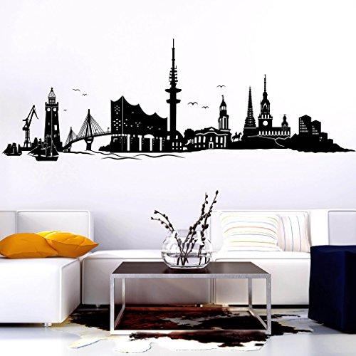 Wandtattoo-Loft Wandtattoo Skyline Hamburg mit Elbphilharmonie Hafenstadt an der Elbe/Wandsticker/Wandaufkleber / 54 Farben / 3 Größen/schwarz / 70 cm hoch x 203 cm breit