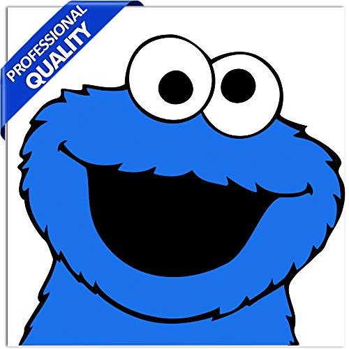 SkinoEu® 2 Stück Vinyl Aufkleber Stickers Autoaufkleber Sesamstraße Krümelmonster Elmo Cookie Monster Sesame Street Lustig Zeichen Für Fenster Auto Motorrad Fahrrad Tuning B 133