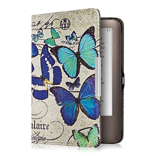 kwmobile Hülle kompatibel mit Tolino Shine - Kunstleder eReader Schutzhülle Cover Case - Schmetterlinge Vintage Blau Mintgrün Beige