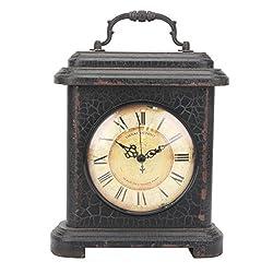 Stonebriar Industrial Graphite Wood and Metal Mantel Clock