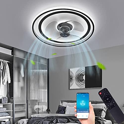 Ventilador de Techo con Iluminación LED Silencioso APP Y Mando a Distancia Plafones Lámpara Redonda Luminaria Regulable Sincronización Inteligente Dormitorio Fan Luz Negro para Sala de Estar Oficina