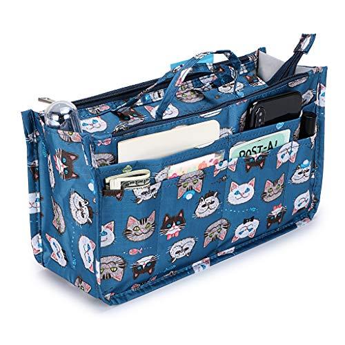 IGNPION bedruckter Handtaschen-Einsatz, Organizer mit 13 Taschen, erweiterbarer Beutel mit Reißverschluss, Einkaufstaschen-Organizer, Winckeltaschen-Einsatz mit Griff, katze (Mehrfarbig) - IGN433