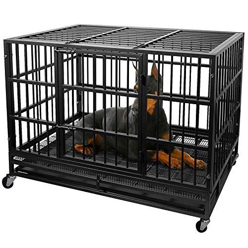 Otaid Heavy Duty Metal Dog Crate Cage Kennel with 4 Wheels, Locks Design, Double Door Strong Metal with Removable Tray, Easily Removable Dog Cage for Home, Indoor&Outdoor
