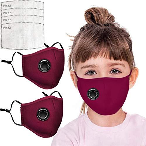 AmyGline Outdoor Baumwolle-Gesichtstuch-Mundschutz,mit Aktivkohlefilter,Wiederverwendbar,Waschbar,Anti-Staub,Atmungsaktiv,Grau Schwarz,für Radfahren Motorrad (2, Kinder-Rot)