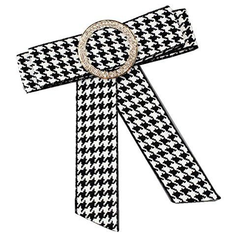MoGist Brosche Vintage klassisches Kariertes Muster Bogenband Boutonniere Shirt Krawattennadeln Dekoration Brooch Geschenk Schmuck Modeschmuck (Weiss+Schwarz)