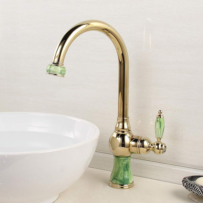 Europische Jade Wasserhahn 360° Drehbar Küchenarmatur Einhebel Spültischarmatur VerGoldet Antik Messing heies und kaltes Hoch Basin Wasserhahn,GoldJadeFaucet
