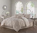 Avondale Manor 7-Piece Ella Pinch Pleat Comforter Set, Queen, Taupe