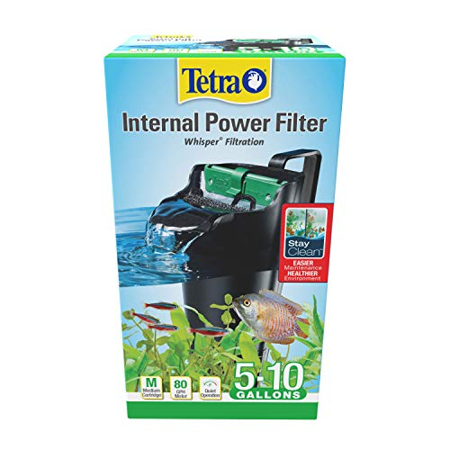 Tetra Whisper Internal Power Filter 5 To 10 Gallons, For aquariums, In-Tank Filtration With Air Pump, Black