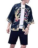 DianShaoA Hombres Camisa Japonés Cardigan Yukata Estilo Kimono con Dragón Impresos Vintage Holgado Casual Negro M