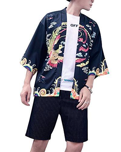 DianShaoA Hombres Camisa Japonés Cardigan Yukata Estilo Kimono con Dragón Impresos Vintage Holgado Casual Negro L