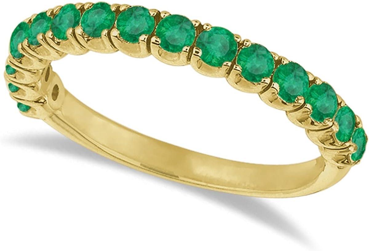 14k Gold Emerald Semi-Eternity Ring Anniversary Band (1.09ct)