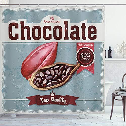 ABAKUHAUS Kakao Duschvorhang, Beste Wahl Schokolade Retro, mit 12 Ringe Set Wasserdicht Stielvoll Modern Farbfest & Schimmel Resistent, 175x180 cm, Mehrfarbig
