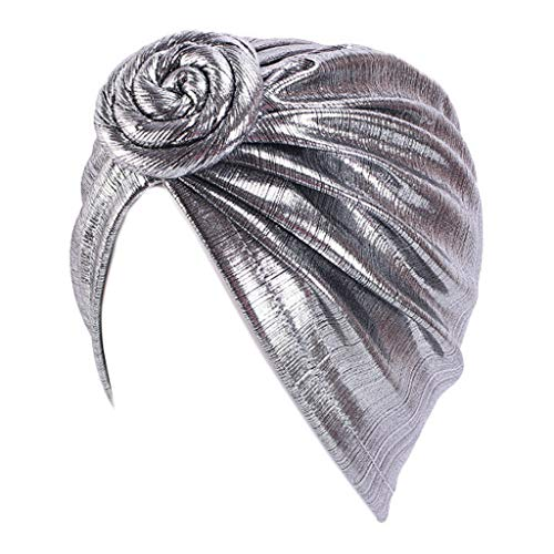 GROOMY Baotou Kappe, Muslim Spiral Knot Blumenturban Kappe Glänzende Metallic Plissee Kopfwickel Chemo Hut-Silber
