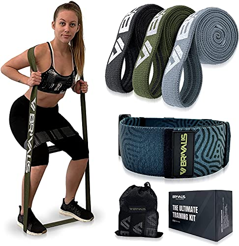 Brivalis Long Fabric Resistance Band Set for Women & Men - 3 Long Exercise Bands and 1 Adjustable Booty Band. Heavy Duty Fitness Stretch Bands, Full Body Workout Set. Assist for Home & Gym Exercises.