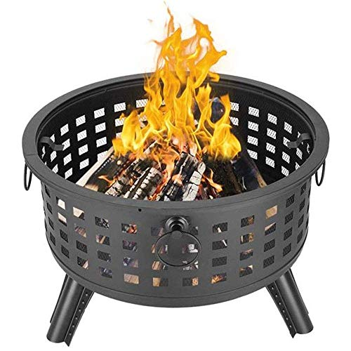 Dpliu Large fire pit 26 inch outdoor fireplace burner fireplace brazier garden patio light fire pit with grill and spark arrestor
