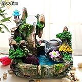 HONIC Rockery-Wasser-Brunnen Glück Wasserrad Handwerk Bonsai Feng Shui-Ornamente Home Office Decor kreative Trübungen Befeuchter: Nein Vernebler