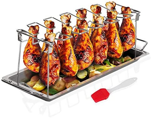 Sandtix Chicken Leg Wing Rack Stainless Steel Vertical Roaster Stand for Grill Smoker or Oven product image