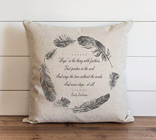Hope - Funda de almohada para sofá, banco, cama, decoración del hogar, 26 x 26 pulgadas