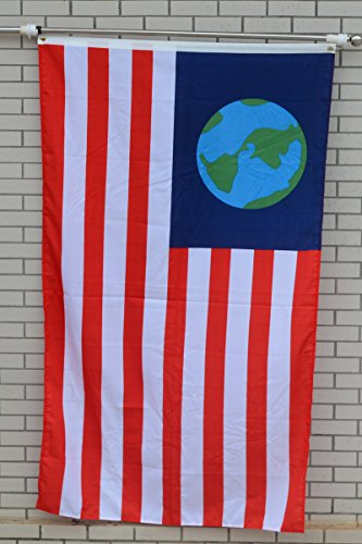 Fyon Large Re-Creation of The Earth Flag Old Freebie Flag 3X5Ft