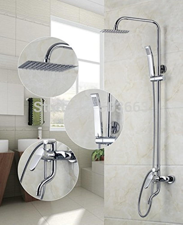 Luxurious shower Klassischen Stil an die Wand montiert 8  Regendusche Set Badewanne Armatur Mischbatterie Chrom 8 Zoll Duschkopf Badezimmer Niederschlag 53030, Wei