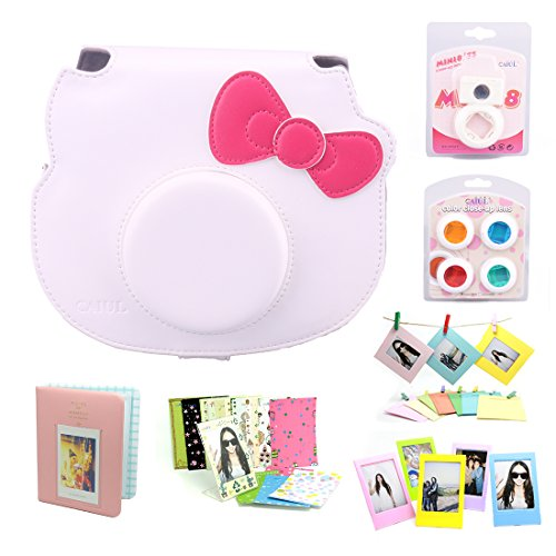 CAIUL 7 in 1 Hello Kitty Camera Accessories Bundle(White Hello Kitty Case/Mini Album/Close-Up Selfie Lens/ 4 Colors Close-Up Lens/Wall Hang Frame/Film Frame/Film Stickers)