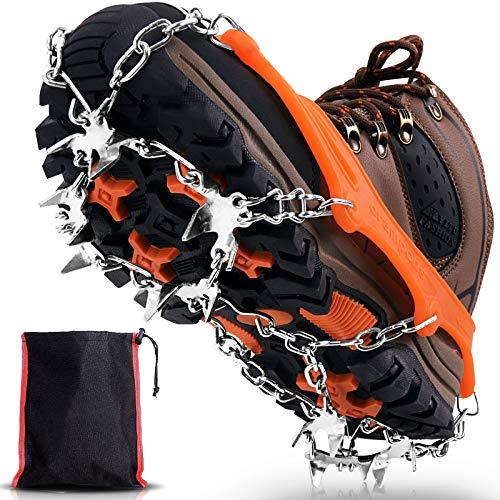 Winline Crampones, 19 Garras de Dientes Crampones Cubierta Antideslizante de Zapatos con Cadena de Acero Inoxidable para Excursiones Pesca Escalada Trotar Caminata sobre Nieve y Hielo (Amarillo, L)