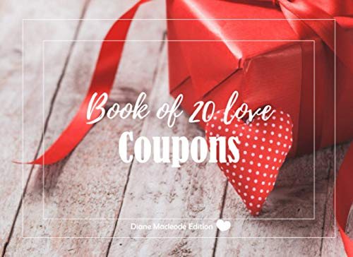 Book of 20 love Coupons: v1-6   20 full Color coupons to complete   gift idea for Valentine's day Birthday or Christmas   for her for him couples dad mom   red gift box