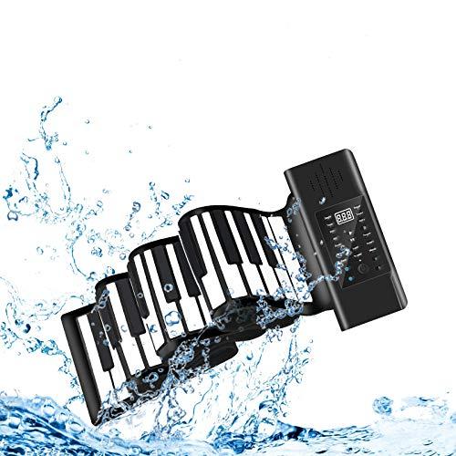 KKTECT Piano enrollable, teclado de piano eléctrico profesional portátil de 88 teclas, teclado de espesamiento de piano recargable con doble altavoz, regalo para niños principiantes