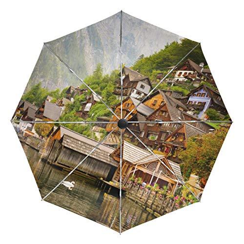 Lenenl Lake Houses Hallstatt Cafe Winddichter Reise-Regenschirm Automatisch Öffnen Schließen Leicht Kompakter UV-Schutz Regenschirm