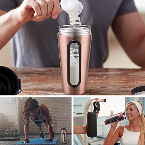 Tiamu Protein Shaker Bottle, Stainless Steel Sports Water Bottle Shaker Cup, Leak Proof, BPA Free gold