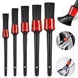 Yosemy - Set di 5 pennelli per dettagli auto, ideali per la pulizia di ruote, motori, interni, emblemi, aperture di aerazione