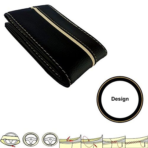 akhan sc305bb Cover 37 – 39 cm Leather Steering Wheel Cover Black/Beige Lace Up