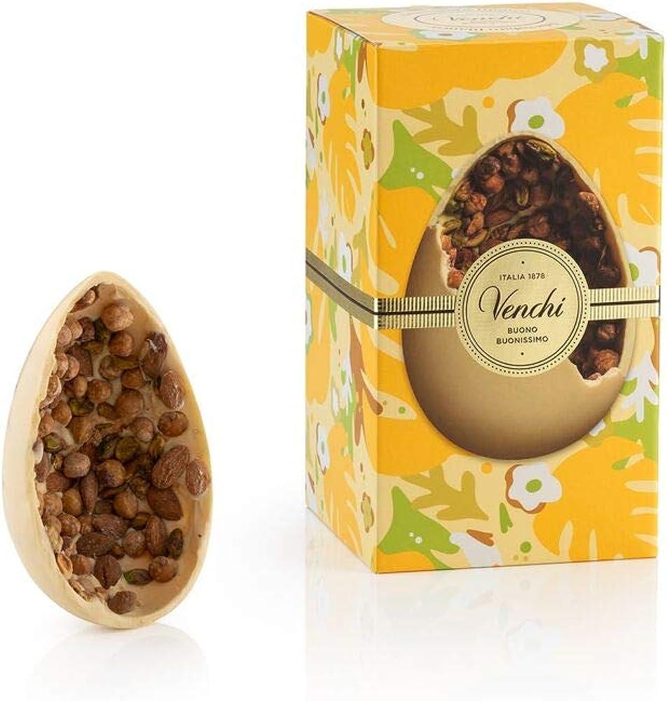 Uovo di cioccolato gran gourmet bianco salato 500g, con nocciole piemonte igp, mandorle siciliane e pistacchio