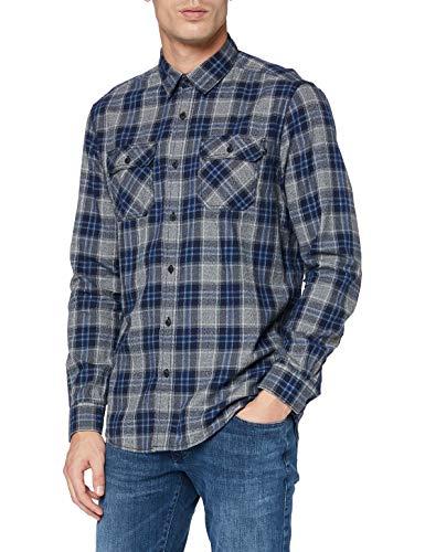 Pioneer Herren Shirt Longsleeve Check Hemd, moodindigo, XL