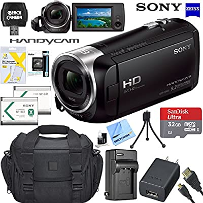 Sony Handycam CX405 Flash Memory Full HD Camcorder Bundle with 32GB Memory Card, Camera Bag, HDMI Cable, and Accessories (8 Items) by Sony