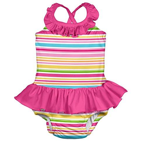 i play. 712153-205-47 Schwimmwindel- Badeanzug mit Rüschen 2-3 Jahre, Multistripe, pink