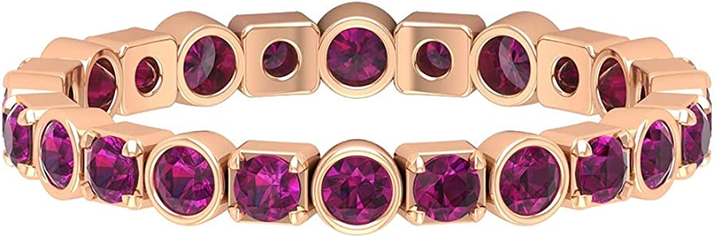 June Birthstone - 1 CT Stackable Rhodolite Band Ring (AAA Quality), 14K Solid Gold