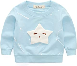 Clothing Baby Girls Clothing Cartoon Pentagram Pattern Long Sleeve T Shirt Casual Tops, Size:L(Pink) Clothing (Color : Light Blue)