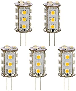 LEDwholesalers Tower Type G4 12V AC/DC LED Bulb with 15xSMD3528 for RV Camper Trailer Boat Marine, Pack of 5, Warm White, 1411WWx5