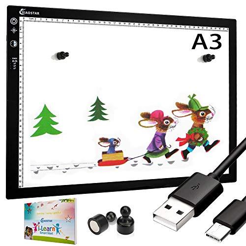 XIAOSTAR A3 Led Licht Pad Leuchttisch, Smart Tracing mit Sperrbildschirm und Timing-Set Typ-C Ladekabel, einstellbare Helligkeit Tracing Lichtpad,für Zeichnung, Animation, Skizzierung(A3-STK Schwarz