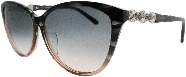 Swarovski SK0084 F 52F Grey Horn Asian Fit CatEye Sunglasses