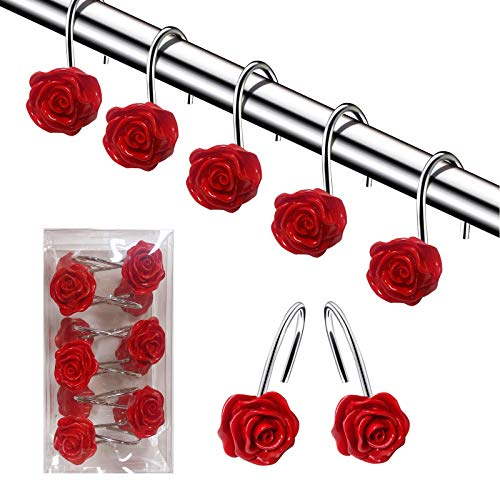DLD Shower Curtain Hooks, 12 Anti-Rust Decorative Resin Hooks (5 Colors Available) for Bathroom, Baby Room, Bedroom, Living Room Decoration (Red)