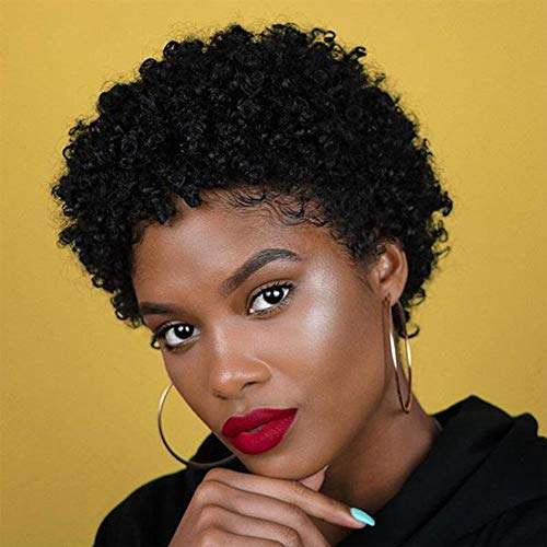 Short Afro Curly Human Hair Wigs for Black Women Kinky Curly Short Wigs 150% Density Afro Wig for African American Replacement Wigs Natural Black Color 1B