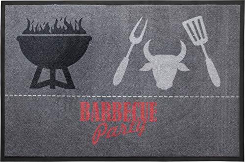Primaflor - Ideen in Textil BBQ Grill-Schutz-Matte Grillunterlage - 80 x 120 cm, BBQ Grau, rutschfeste Bodenschutzmatte, Grill-Bodenmatte